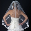 Elegance by Carbonneau V-1138-1F Single Layer Fingertip Length Floral Lace Embroidery Edge Veil 1138 1F
