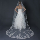 Elegance by Carbonneau V-1139-1C Single Layer Cathedral Length Scalloped Edge Veil with Floral Lace Embroidery V 1139 1C