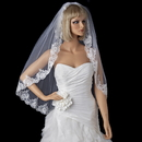 Elegance by Carbonneau V-1794 Single Layer Fingertip Length Veil with Floral Lace Embroiderey Edge of Sequins & Beads 1794