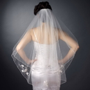 Elegance by Carbonneau V-2007-F Double Layer Fingertip Length Satin Corded Edge with Sheer Organza Flowers & Bugle Beads Veil 2007 F