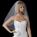 Elegance by Carbonneau V-201-1E Bridal Wedding Single Layer Elbow Length Crystals & Silver Vine Embroidery Veil 201