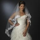 Elegance by Carbonneau Floral Embroidered Double Layer Edge Veil Fingertip Waltz Length Veil 2043