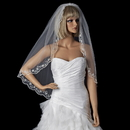 Elegance by Carbonneau V-595 Single Layer Fingertip Length Veil with Scalloped Embroidered Edge 595