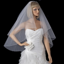 Elegance by Carbonneau V-720 Bridal Wedding Double Layer Fingertip Length, Scattered Rhinestones & Pearls Veil 720