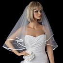 Elegance by Carbonneau V-947 Bridal Wedding Double Layer Elbow Length Ribbon Edge Veil 947