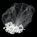 Elegance by Carbonneau V-Cage-2718 Vintage Feather Rhinestone Hair Comb & Russian Blusher Veil Cage 2718