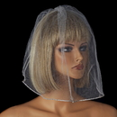 Elegance by Carbonneau V-Cage-503 Single Layer Fine Birdcage Face Veil with Glistening Rhinestone Edge 503