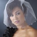 Elegance by Carbonneau V-Cage-504 Single Layer Fine Birdcage Face Veil Blusher with Sparkling Crystal Edge 504