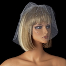 Elegance by Carbonneau V-Cage-505 Two Layer Fine Birdcage Face Veil Scattered Throughout with Rhinestones 505