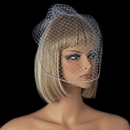 Elegance by Carbonneau V-Cage-703 Single Layer Russian Birdcage Face Veil with Swarovski Rhinestone Edge & Attached Comb 703