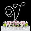 Elegance by Carbonneau V-Renaissance-Silver Renaissance ~ Swarovski Crystal Wedding Cake Topper ~ Silver Letter V