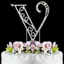 Elegance by Carbonneau V-Roman Romanesque ~ Swarovski Crystal Wedding Cake Topper ~ Letter V