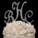 Elegance by Carbonneau vintage3ltrmongrm Vintage ~ Swarovski Crystal Monogram Wedding Cake Topper Set