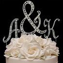 Elegance by Carbonneau VintageLargeampersand-SmallLetters Vintage ~ Swarovski Crystal Monogram Wedding Cake Topper Set