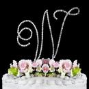Elegance by Carbonneau W-Renaissance-Silver Renaissance ~ Swarovski Crystal Wedding Cake Topper ~ Silver Letter W