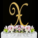 Elegance by Carbonneau X-Sparkle-Gold Sparkle ~ Swarovski Crystal Wedding Cake Topper ~ Gold Letter X