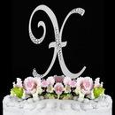 Elegance by Carbonneau X-Sparkle-Silver Sparkle ~ Swarovski Crystal Wedding Cake Topper ~ Silver Letter X