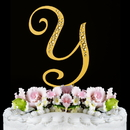 Elegance by Carbonneau Y-Sparkle-Gold Sparkle ~ Swarovski Crystal Wedding Cake Topper ~ Gold Letter Y