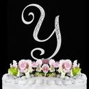 Elegance by Carbonneau Y-Sparkle-Silver Sparkle ~ Swarovski Crystal Wedding Cake Topper ~ Silver Letter Y