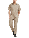 TOPTIE Men's Light Weight Short-Sleeve Work Coverall with Elastic Waist
