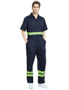 TOPTIE Short-Sleeve Coverall Safety Enhanced Visibility Striped One Piece Jumpsuit