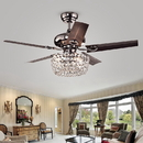 Warehouse of Tiffany CFL-8110REMO/CH Angel 3-light Crystal Chandelier 5-blade 43-inch Brown Ceiling Fan (Optional Remote)