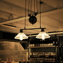 Warehouse of Tiffany CY-DD-177 Laxmi Black Industrial Style 2-light Chandelier with Ridged Glass Shades  (includes bulbs)