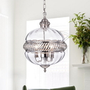 Warehouse of Tiffany RL8168PN Permin 13-inch Clear Glass Globe with Metal Accents Pendant Light