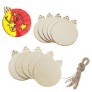 Muka 100 Pcs Unfinished Wooden Tags Labels with Jute Ropes, 5 Shapes for Gift Wrap DIY Accessories