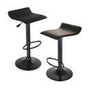 Winsome 20239 Obsidian Airlift Stool, Adjustable, Swivel, Backless, Black seat and base