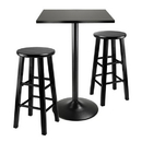 Winsome 20323 3pc Counter Height Dining Set, Black Square Table Top and Black Metal Legs with 2 Wood Stools