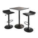 Winsome 20325 Obsidian 3pc Table Set, Square Table Counter Height with 2 Airlift Stools all Black