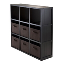 Winsome 20642 7-Pc Wainscoting Panel Shelf 3 x 3 Cube with 6 Chocolate Foldable Baskets