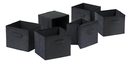 Winsome 22611 Wood Capri Set of 6 Foldable Black Fabric Baskets