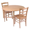 Winsome 34342 Hannah 3pc Dining Set, Drop Leaf Table with 2 Ladder Back Chairs