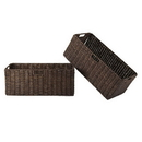 Winsome 38223 Granville Foldable 2-pc Large Corn Husk Baskets, Chocolate