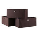 Winsome 38323 Torino 3-Pc Set Folding Fabric Baskets Chocolate