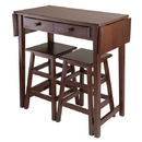 Winsome 40338 Mercer Double Drop Leaf Table with 2 Stools