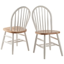 Winsome 53836 Windsor Chair 2-PC Set RTA White & Natural