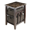 Winsome 76320 Zoey Side Table, Faux Marble Top w/2 Baskets, Antique Walnut Finish