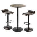 Winsome 76383 Cora 3pc Round Pub Table with 2 Swivel Stools
