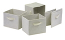 Winsome 82411 Wood Capri Set of 4 Foldable Beige Fabric Baskets