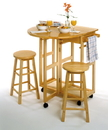 Winsome 89332 Wood Space Saver, Drop Leaf Table with 2 Round Stools