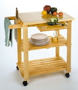 Winsome 89933 Wood Kitchen Cart with Cutting Board, Knife Block and Shelves