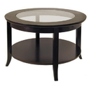 Winsome 92219 Genoa Coffee Table, Glass inset and shelf