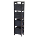 Winsome 92241 Capri 4-Section N Storage Shelf with 4 Foldable Black Fabric Baskets