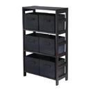 Winsome 92251 Capri 3-Section M Storage Shelf with 6 Foldable Black Fabric Baskets