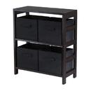 Winsome 92261 Capri 2-Section M Storage Shelf with 4 Foldable Black Fabric Baskets