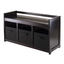 Winsome 92301 Addison 4pc Storage Bench with 3 Foldable Fabric baskets in Black