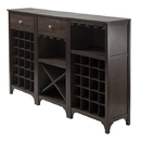 Winsome 92367 Ancona 3-pc Set Wine Cabinet, Dark Espresso Finish